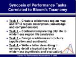 synopsis of performance tasks correlated to bloom s taxonomy