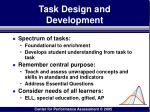 task design and development