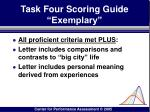 task four scoring guide exemplary