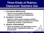 three kinds of rubrics classroom teachers use