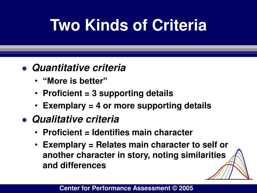 Two Kinds of Criteria
