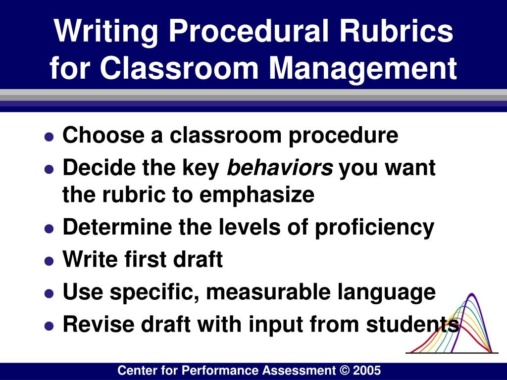 Writing Procedural Rubrics for Classroom Management