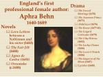 england s first professional female author aphra behn 1640 1689