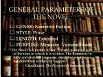 general parameters of the novel