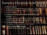 narrative precursors to the novel