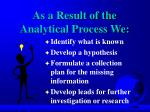 as a result of the analytical process we
