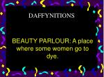 beauty parlour a place where some women go to dye