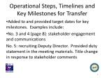 operational steps timelines and key milestones for transfer