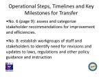 operational steps timelines and key milestones for transfer1