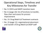 operational steps timelines and key milestones for transfer2