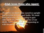 allah loves those who repent