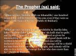the prophet sa said