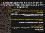 2 essential focus for the development of internet based community telemedicine system in indonesia