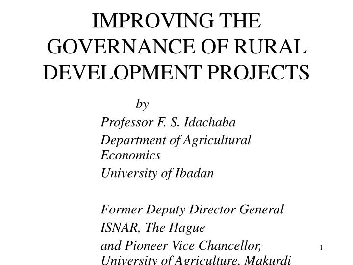 improving the governance of rural development projects n.