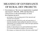 meaning of governance of rural dev projects