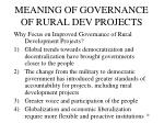 meaning of governance of rural dev projects1