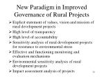 new paradigm in improved governance of rural projects