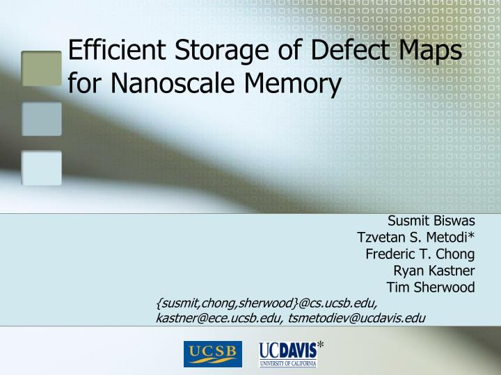 efficient storage of defect maps for nanoscale memory n.