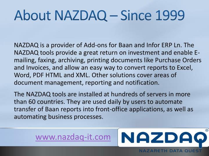 About nazdaq since 1999
