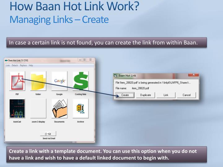 How Baan Hot Link Work?