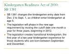 kindergarten readiness act of 2010 sb 1381