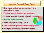 internal control over cash