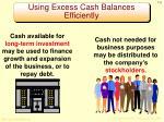 using excess cash balances efficiently