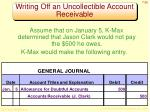 writing off an uncollectible account receivable1