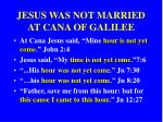 jesus was not married at cana of galilee
