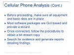 cellular phone analysis cont