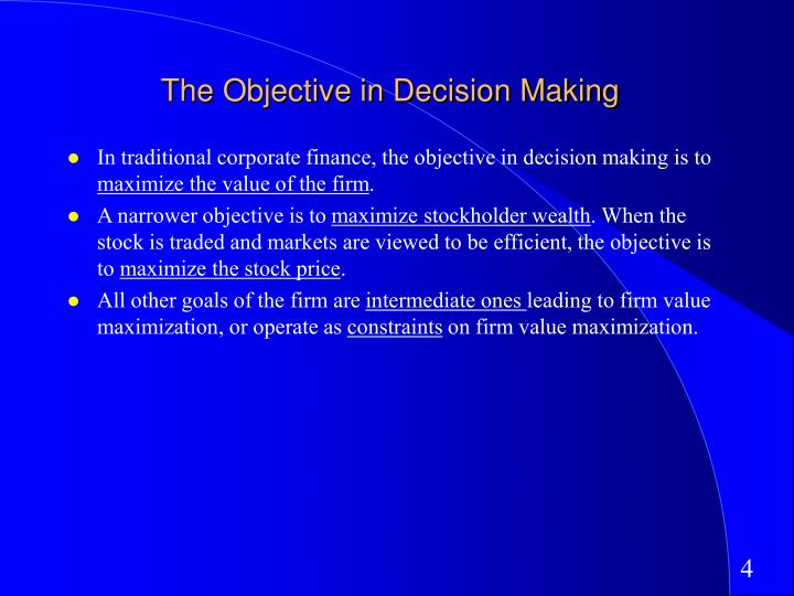objectives in corporate finance essay The targets you adopt for the finance team can definitely follow smart if your team has responsibility for collections, you can set specific dso targets with quantification of specific behaviors (ie all customers with accounts receivable aged greater than xyz days receive xyz # of emails/calls.