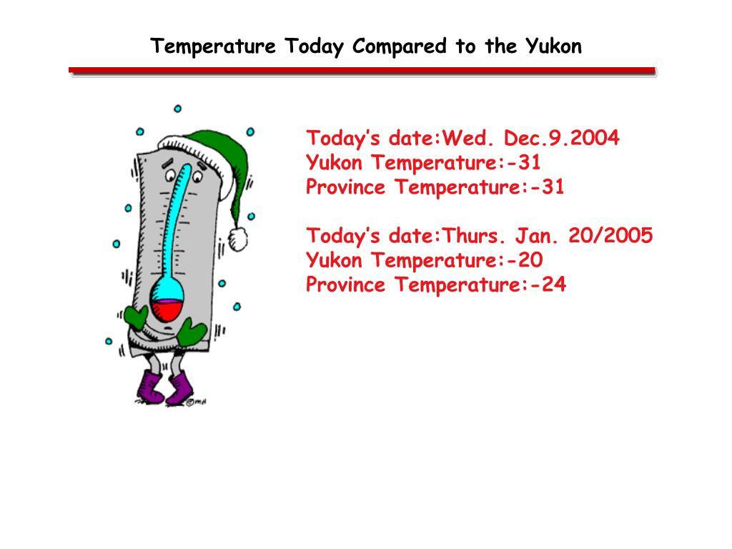 Temperature Today Compared to the Yukon