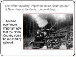 the timber industry important in the southern part of new hampshire during colonial days