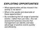exploiting opportunities
