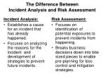 the difference between incident analysis and risk assessment