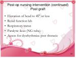 post op nursing intervention continued post graft