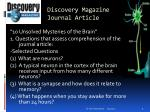 discovery magazine journal article