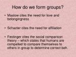 how do we form groups