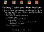 delivery challenges best practices