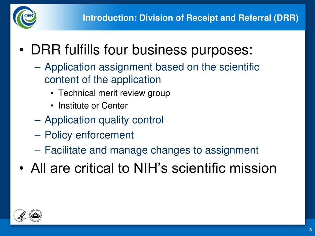 Introduction: Division of Receipt and Referral (DRR)