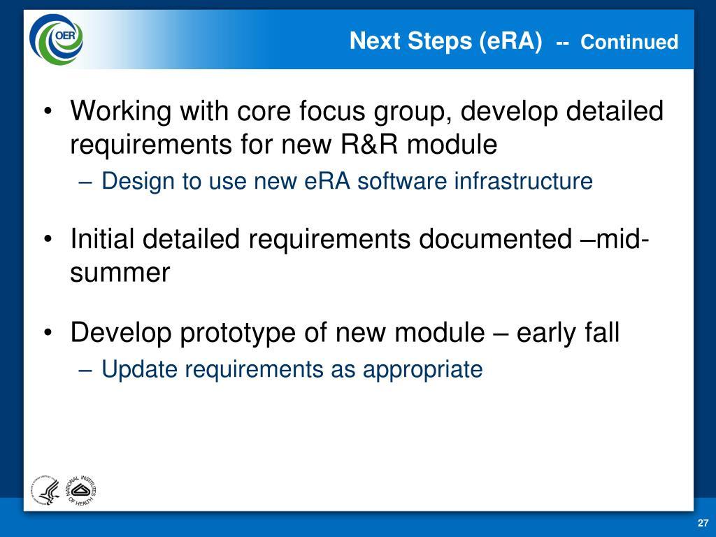 Next Steps (eRA)