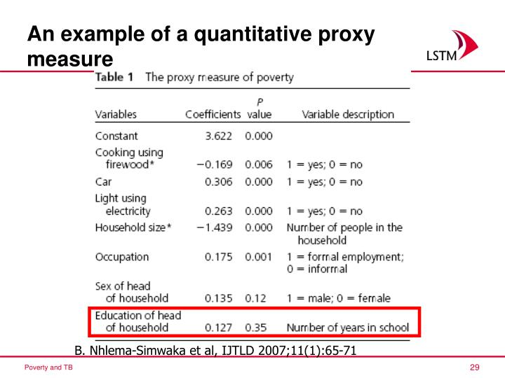 An example of a quantitative proxy measure