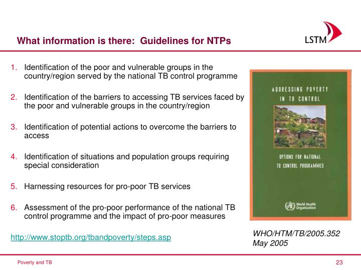 What information is there:  Guidelines for NTPs