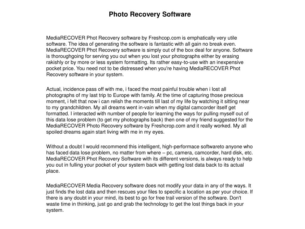 photo recovery software l.