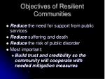 objectives of resilient communities