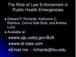 the role of law enforcement in public health emergencies