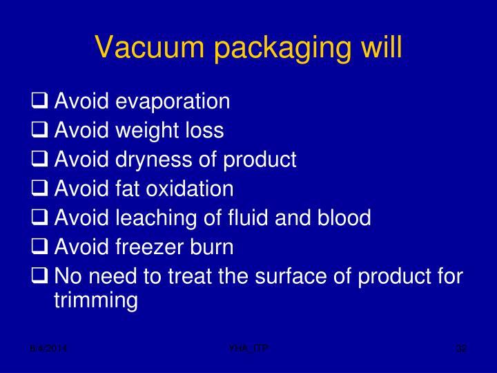 Vacuum packaging will