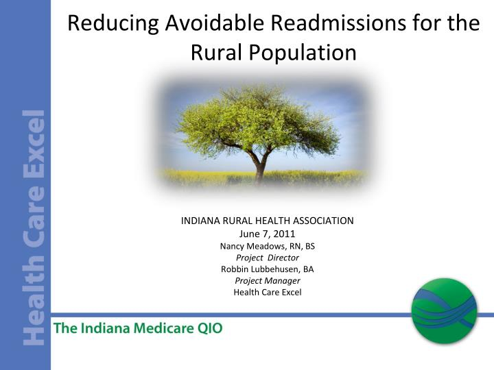 reducing avoidable readmissions for the rural population n.