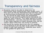 transparency and fairness