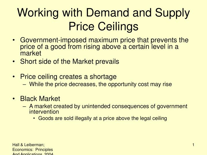 working with demand and supply price ceilings n.